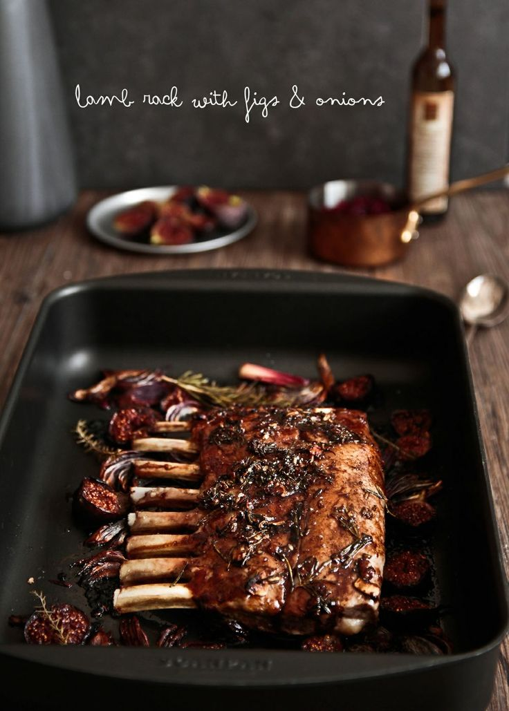 Lamb Rack with Figs and Caramelised Onion