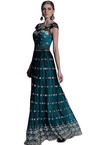 Roslyn | Nityangi - Beautiful premium range dress with a jewelled neckline. This dress has short sleeves and does up with a zip. It has a mesh outer layer which has the contrast embroidered flowers, a satin teal lining and then another lining under the satin. NZ$289