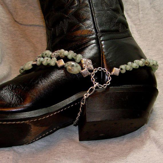 Kiwi Jasper Stone And Silver Boot Bracelet. $60.00, via Etsy.