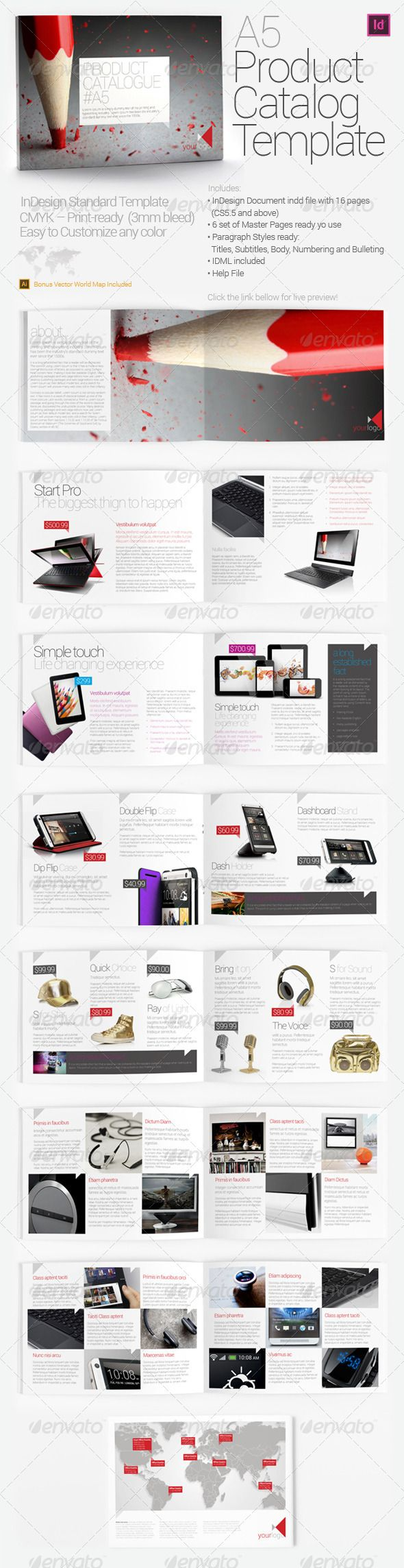 A5 Product Catalog Template  #GraphicRiver        A5 Product Catalog Template InDesign Standard Brochure Template.
