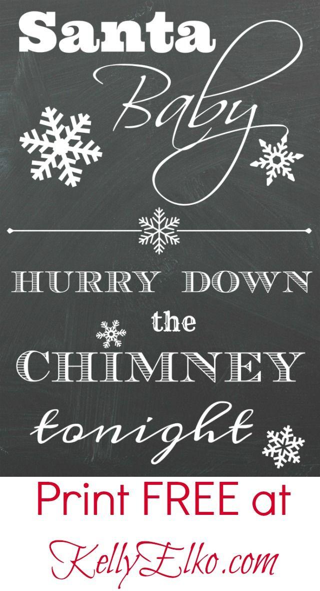 Love this Free Christmas Santa Baby Printable! kellyelko.com