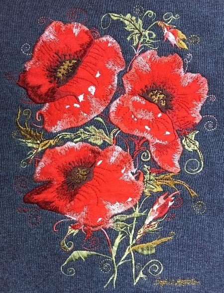 Poppy Embroidery on Country Swirls sweaters www.countryswirls.com