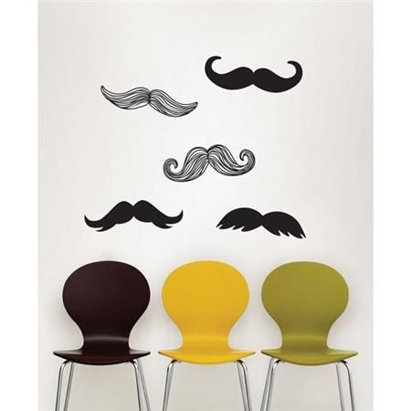 Quirky and Ironic hipster chic Mustache Wall Decals for Dorm Room Decor and Back to School Decorating Mustache Kit - Wall Art Decal Kits WallPops