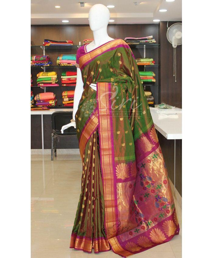 Dark Green Purple Double Shade Pure Authentic Paithani Silk Saree