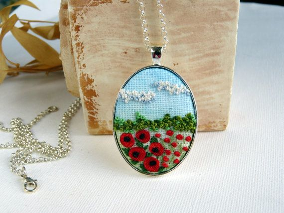 Embroidered poppiesfloral necklace landscape pendant Gift