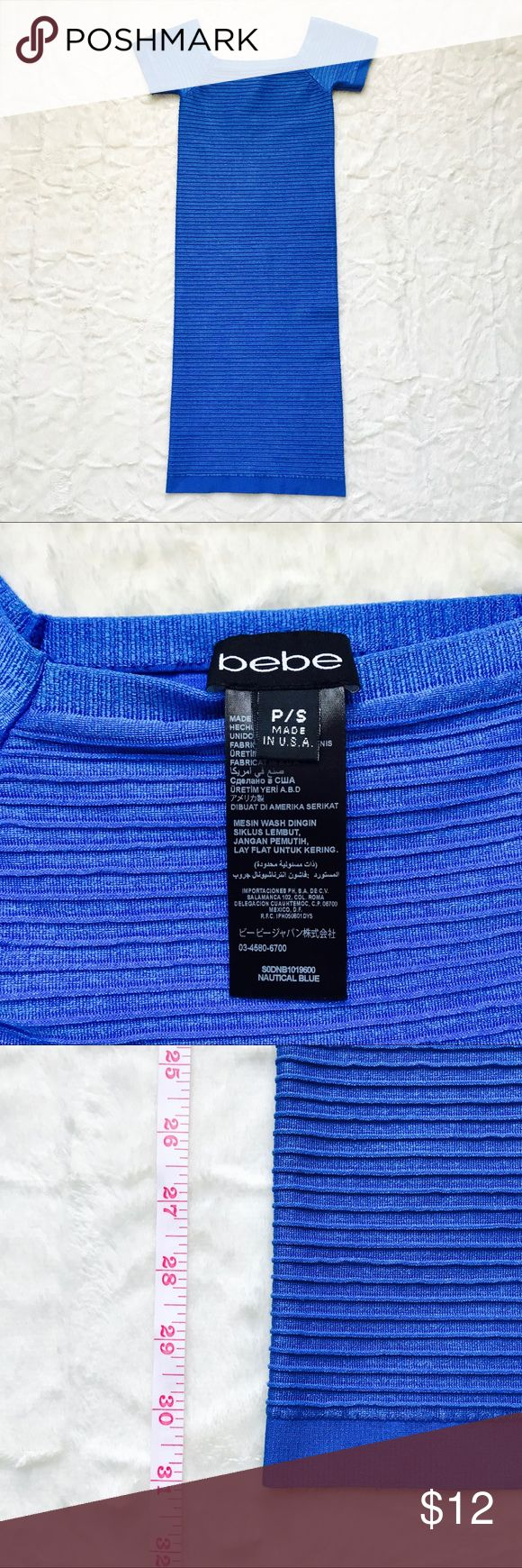"""bebe Ribbed Bodycon Dress with Cap Sleeves bebe Ribbed Bodycon Dress with Cap Sleeves  Can be worn on or off the shoulder  Size: S (stretchy) Color: Nautical Blue Condition: Like New  Full length: 31"""" bebe Dresses Mini"""