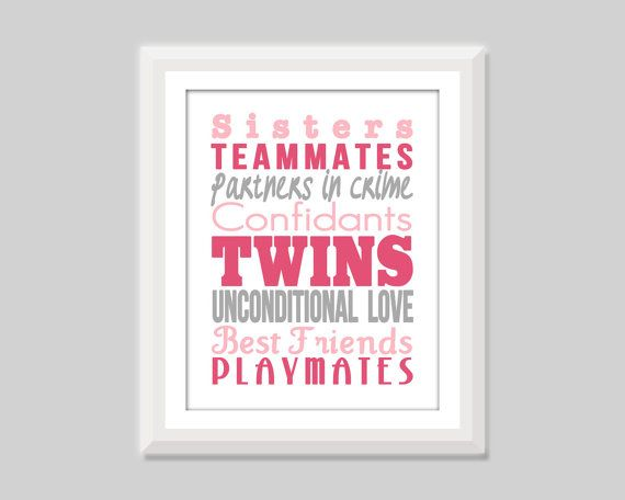 Twin sisters print by SweetPapelDesigns on Etsy.  Could be sweet in a twin girls nursery or room or for best friends!