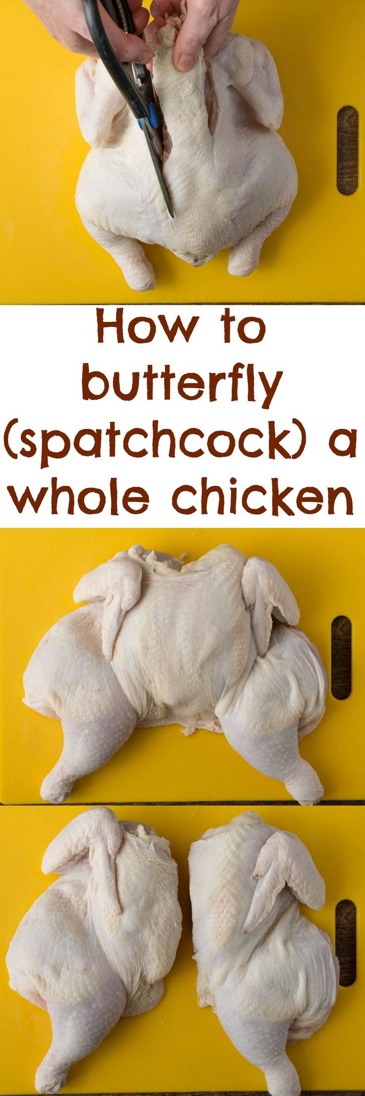 A butterfly (or spatchcock) prepared chicken cooks up quickly with juicy meat and crispy skin when grilled or roasted.