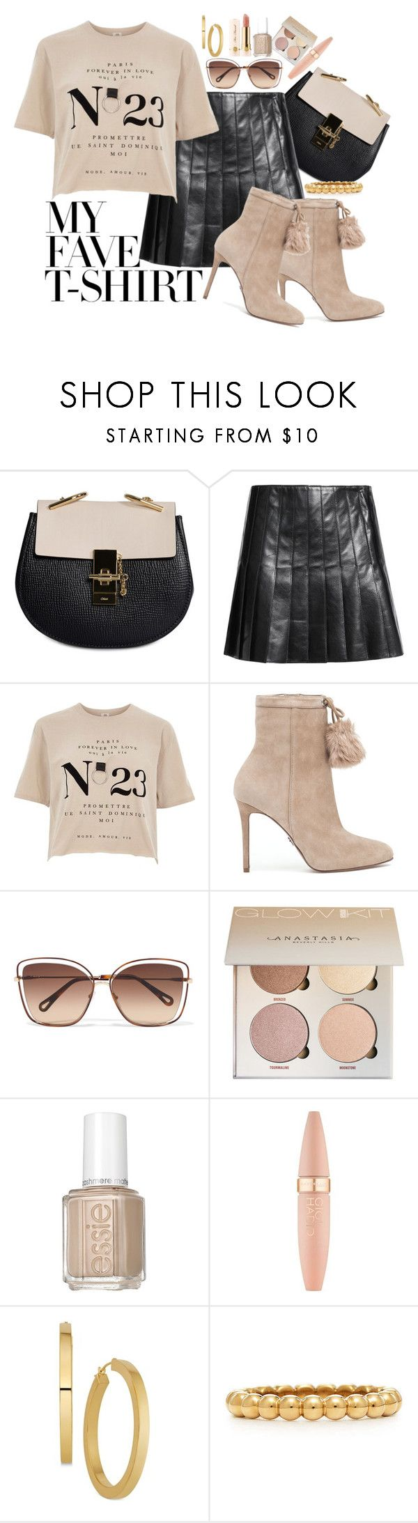 """My Fave TShirt"" by marionmeyer ❤ liked on Polyvore featuring Chloé, Belstaff, River Island, MICHAEL Michael Kors, Essie, Maybelline, Too Faced Cosmetics and MyFaveTshirt"