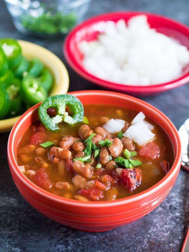 Pressure Cooker Southwestern Pinto Bean Soup recipe - a pot of beans from the Southwest, in about an hour thanks to pressure cooking. From DadCooksDinner.com via @DadCooksDinner