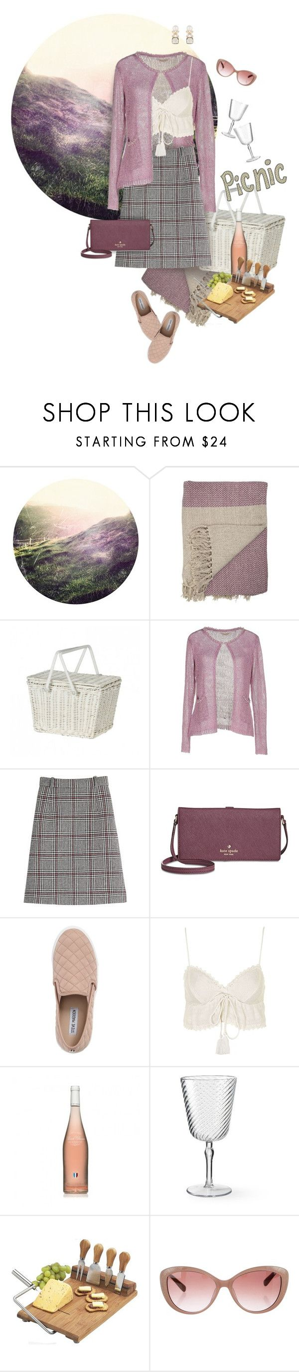 """Heather Hills Picnic"" by valeria-meira ❤ liked on Polyvore featuring Olli Ella, Cashmere Company, Carven, Kate Spade, Steve Madden, Topshop, Williams-Sonoma, Picnic at Ascot, Valentino and Atelier Mon"
