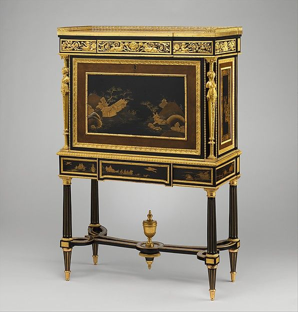 Drop-front secretary on stand (secrètaire à abattant or secrétaire en cabinet) (one of a pair) (part of a set), Adam Weisweiler (French, 1744–1820), Oak veneered with ebony, amaranth, holly, ebonized holly, satinwood, Japanese and French lacquer panels, gilt-bronze mounts, brocatelle marble top (not original); steel springs; morocco leather (not original), French, Paris