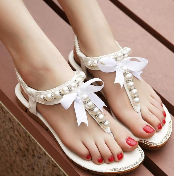 Women flat sandals with pearls - Online Global Shopping Centre