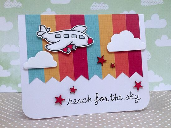 Great Card by Fiona _ Lawn Fawn - Blue Skies, Bon Voyage _ Flickr - Photo   http://cutegreetingcards.blogspot.com