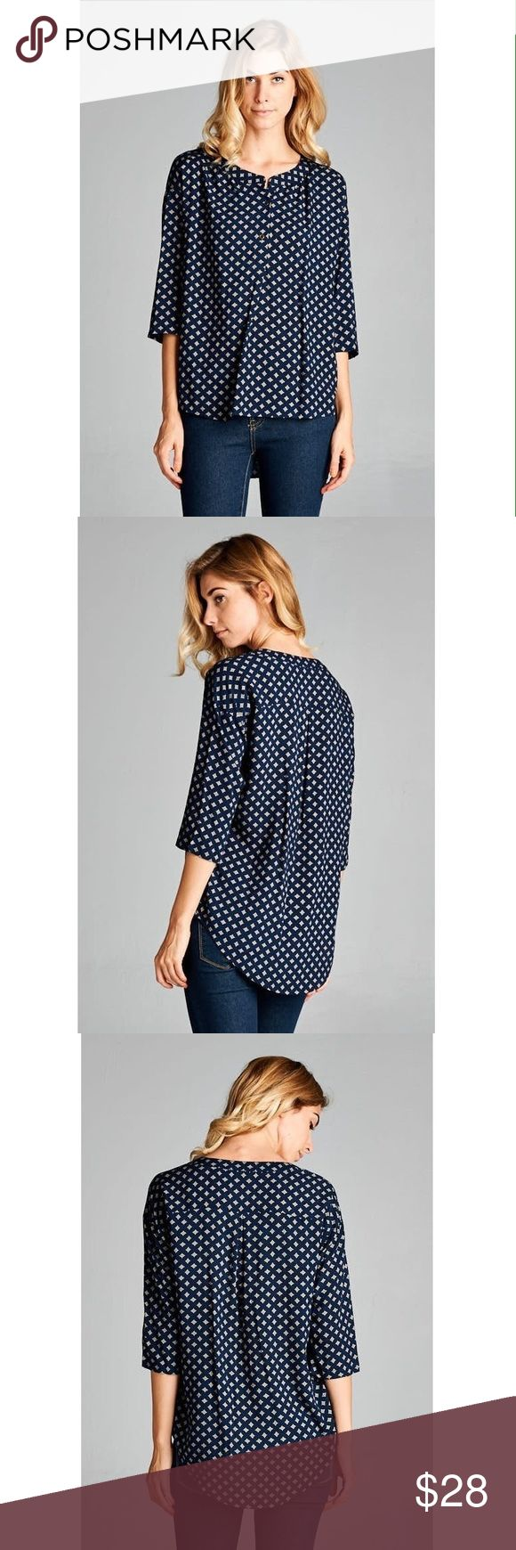 Navy Blouse Tops 90