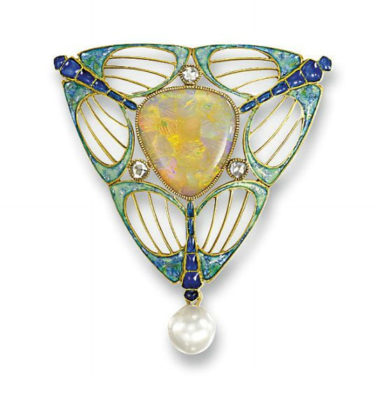 AN ART NOUVEAU OPAL, PEARL AND ENAMEL BROOCH BY GEORGES FOUQUET   The triangular-shaped opal set within an openwork frame depicting three blue and green enamel stylized dragonflies, interspersed with three rose-cut diamonds to the pearl drop, pearl untested, circa 1900, 4.3 cm long  Signed G Fouquet