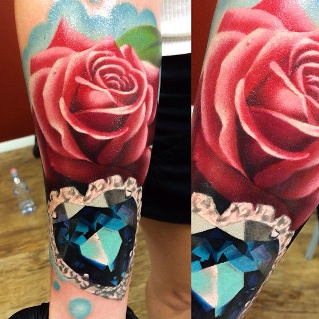 Gorgeous Rose & Sapphire Blue Gem Tattoo by Levi Barnett