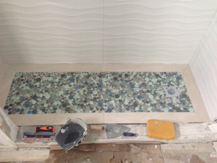 My Bathroom Remodel in Progress. Bubble Mosaic from Porcelanosa. Beige barrique tile. White wave italian tile.  A labor of love.