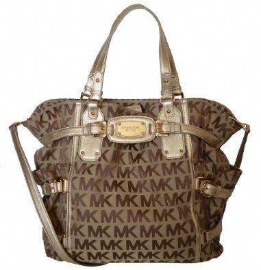 b6e288e24b4970 MICHAEL By Michael Kors MK Signature Large NS Gansevoort Tote Handbag, Gold  #Handbagsmichaelkors
