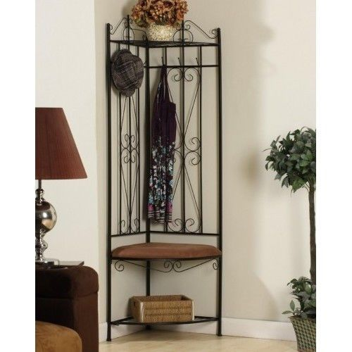 Corner Coat Rack Hall Tree Entryway Black Standing Hallway