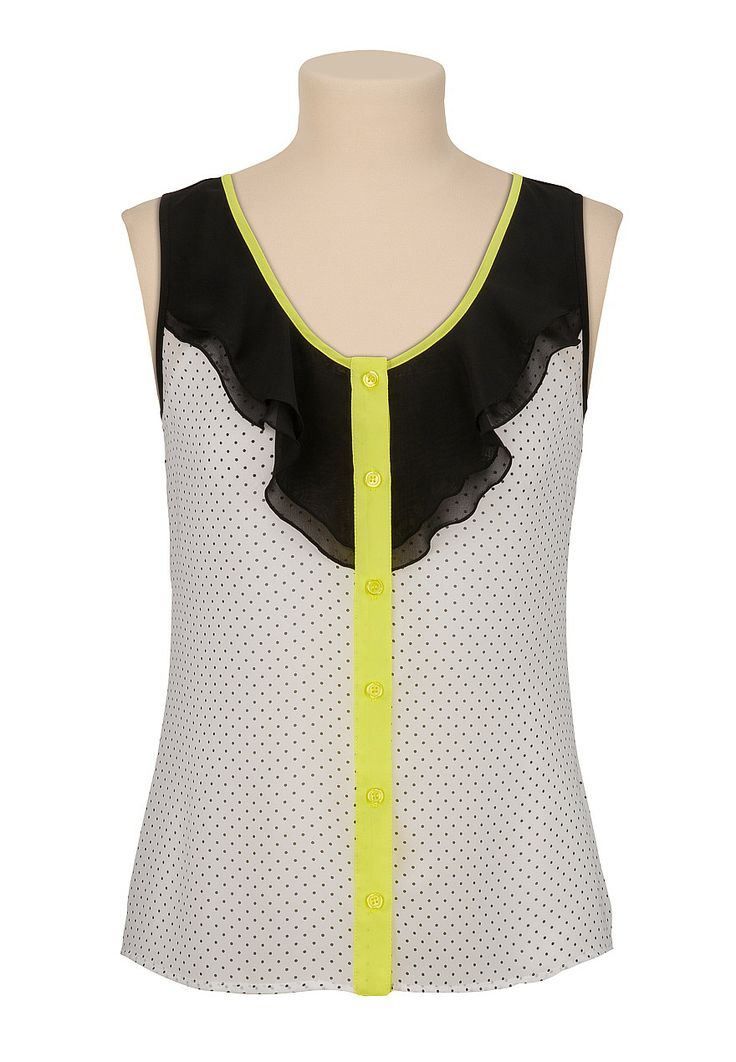 Neon Trim dot print chiffon sleeveless top