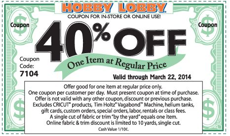 Pinned March 17th: 40% off a single item at Hobby #Lobby, or online via promo code 3253 #coupon via The Coupons App