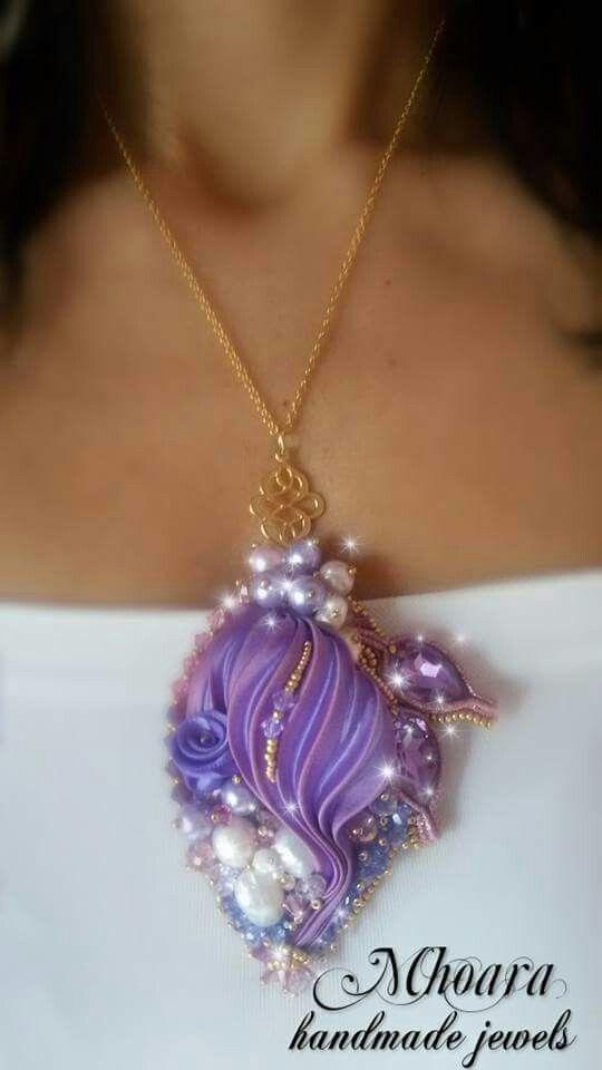 Shibori silk pendant 'Violet' MHOARA Handmade Italian Jewels