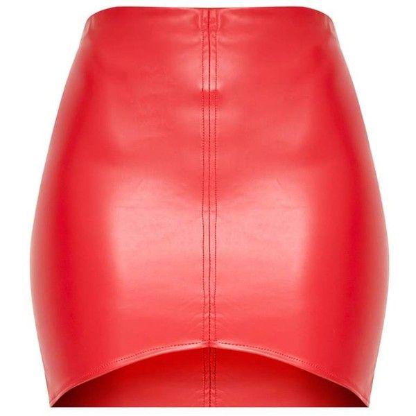 Bekka Red Faux Leather Asymmetric Panel Mini Skirt ($40) ❤ liked on Polyvore featuring skirts, mini skirts, leather look mini skirt, mini skirt, leather look skirt, short mini skirts and red miniskirt