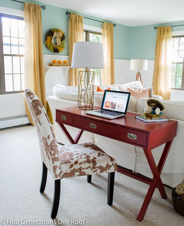 How to create a workspace in a family room. Loving this lamp from HomeGoods (sponsored)