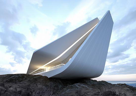 Striking conceptual projects by Ukrainian designer and architect Roman Vlasov.  More architecture via Behance