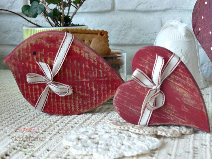 ptak drewniany, serce drewniane, dekoracje świąteczne, christmas, hand made, Noel
