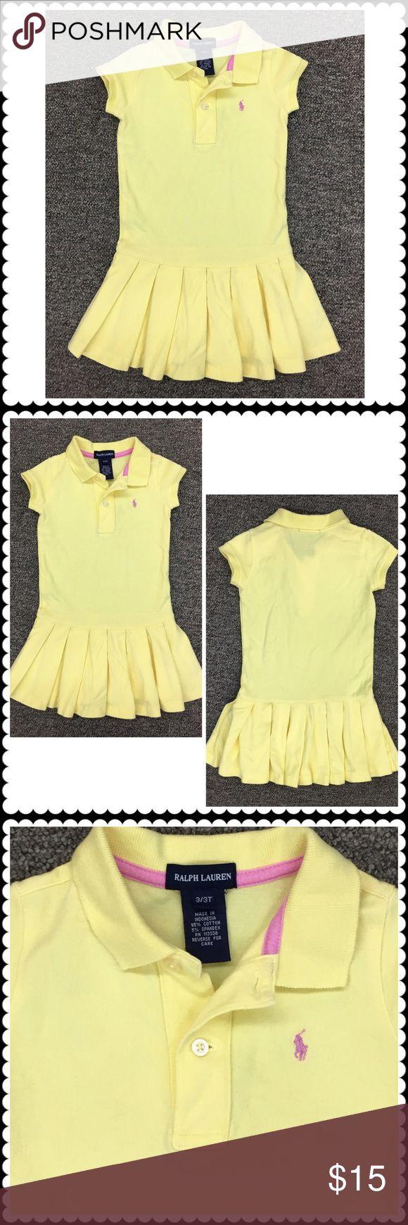 Girls Yellow Polo Shirt Dress RALPH LAUREN Sz 3/3T Cute toddler girls shirt dress by RALPH LAUREN. Bright yellow. Pink pony logo. Sz 3/3T (Cotton Blend) Ralph Lauren Dresses Casual