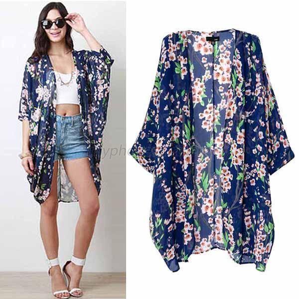 Trendy Women Chiffon Floral Loose Shawl Kimono Boho Cardigan Jacket Blouse Tops