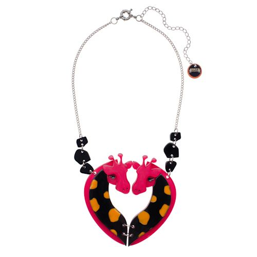 Limited edition, original Erstwilder Laughing Giraffe's necklace in pink. Designed by Louisa Camille Melbourne. $39.95