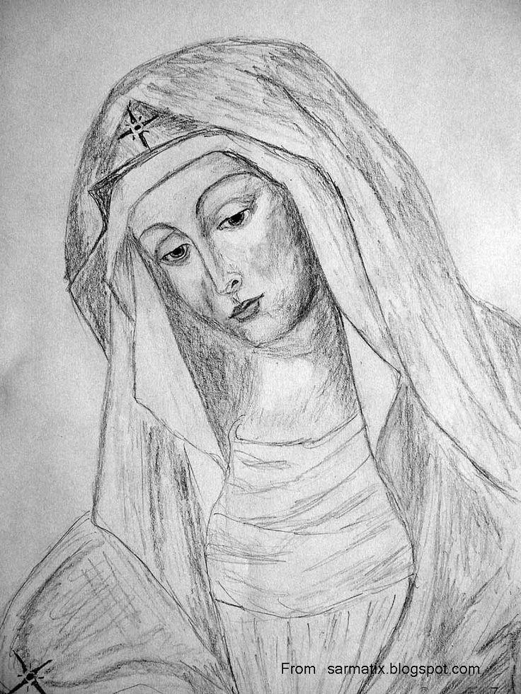 Mother of God from The Gate of Dawn, Vilnius (Matka Boska Ostrobramska) - pencil sketch.