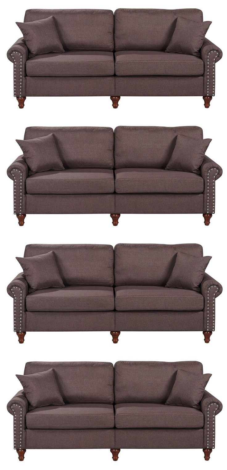 Sofas Loveseats and Chaises 38208: Upholstered Sofa Couch Dorm Living Room Furniture Love Seat Futon 3 Seats Brown -> BUY IT NOW ONLY: $236.82 on eBay!
