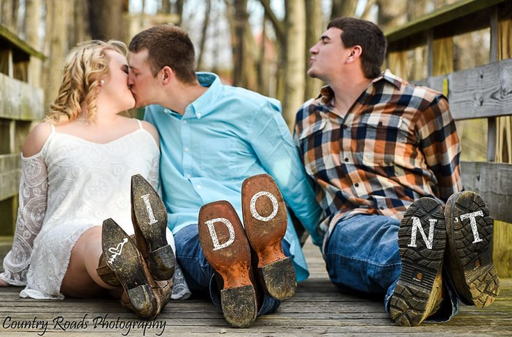 Funny engagement photo with the best man