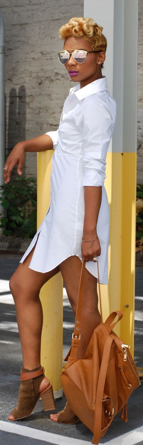***Try Hair Trigger Growth Elixir*** ========================= {Grow Lust Worthy Hair FASTER Naturally with Hair Trigger} ========================= Go To: www.HairTriggerr.com ========================= Loving the Blonde Curls, White Shirt Dress, and Suede Open Toe Booties!!!
