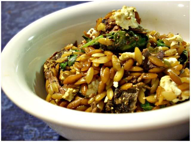 lamb roast (in crockpot) with orzo and spinach