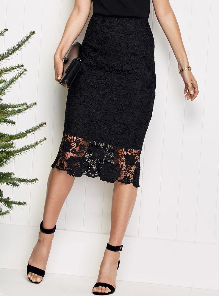 Floral lace midi skirt | Simons