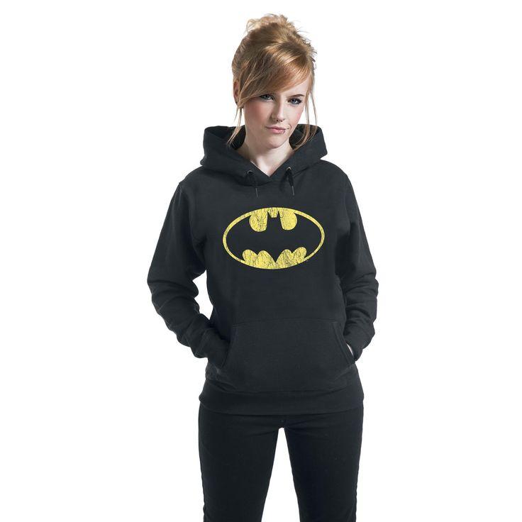"""Felpa donna """"Logo"""" di #Batman nera dotata di cappuccio con coulisse, orlo e polsini a costine, tasca canguro e logo del supereroe stampato in giallo sul davanti."""