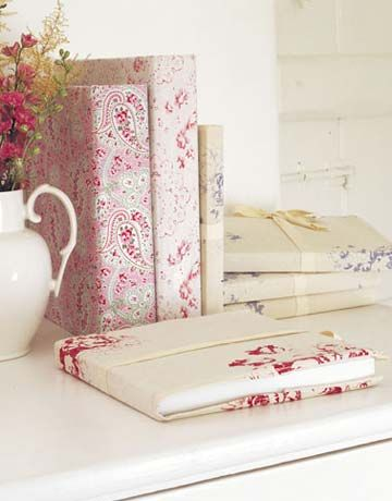 Love these Fabric-Covered Journals.  I MUST know what that fabric is on the far left (paisley)..