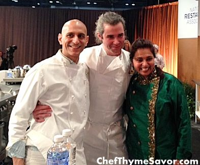 Jehangir Mehta, Maxine Bilet, and Maneet Chauhan Amazing Chefs and so much fun to meet and get to know Check out Chefthymesavor.com's blog for an interview with Chef Mehta
