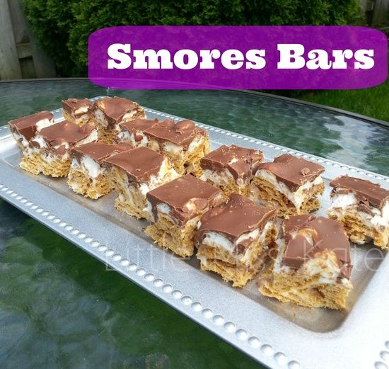 Smores Bars - Enjoy Smores without the campfire! These tasty simple Bars only have 4 ingredients and can be made in under 15 minutes.  Sure to be a treat the while family can enjoy!