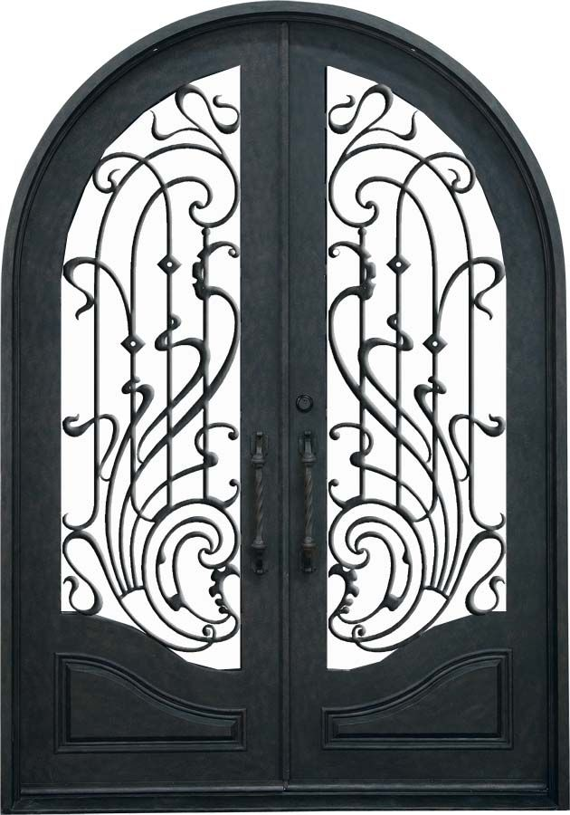 Double Arched Wrought Iron Door with Ribbon Features