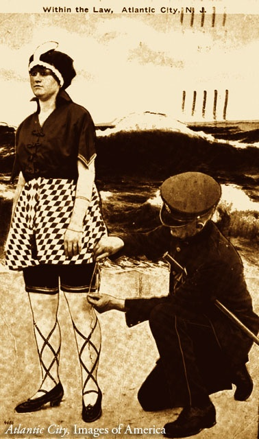 Atlantic City, NJ, 1919. Armed with a tape measure, a censor checks the length of a woman's bathing suit;  females could be fined or arrested if they broke the rules designed by city officials to protect public decency.    #vintage #fashion #ancestry