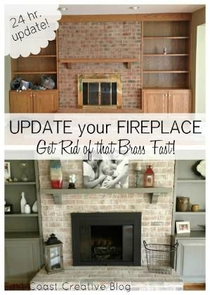 Fireplace makeover including painted mantel and shelves, white washed brick and spray painted brass surround by susieteague