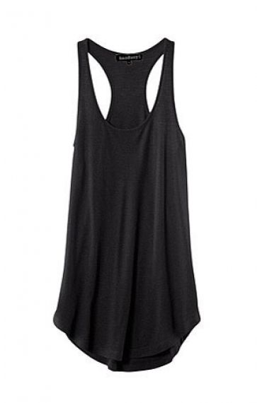 Black O-neck Round Hem Cotton Vest.