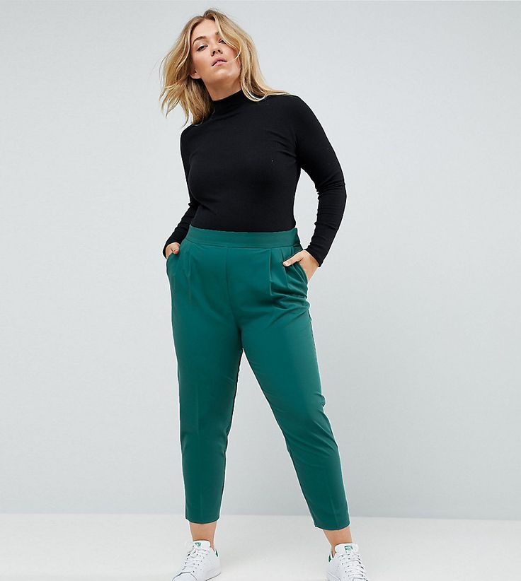 ASOS CURVE High Waist Tapered Pants - Green
