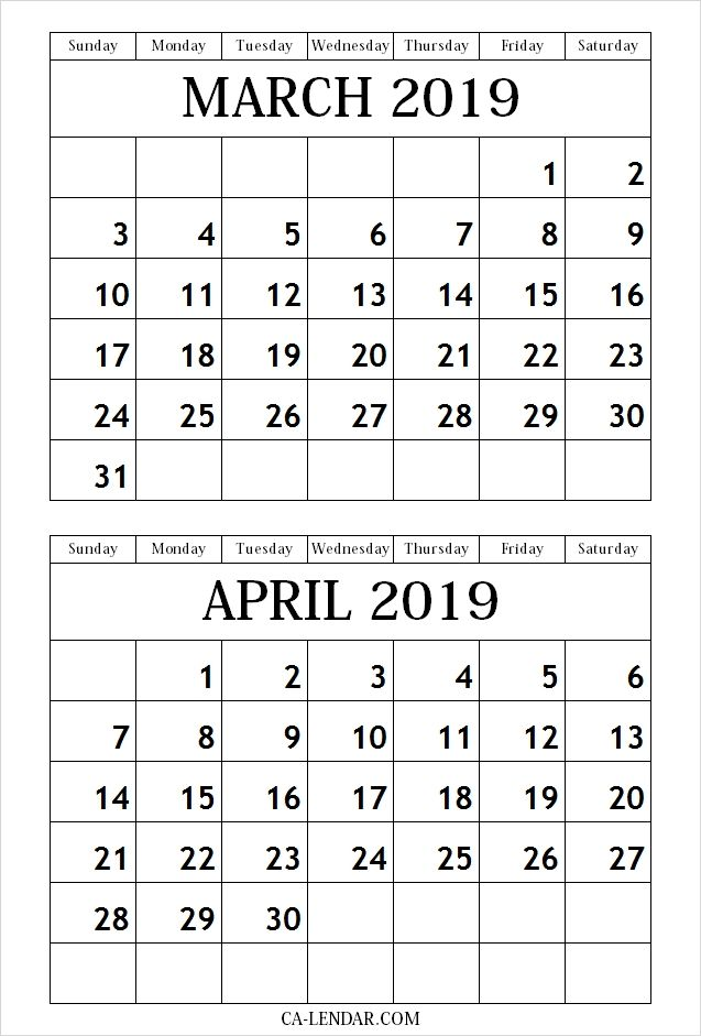 March April 2019 Calendar Free Printable 2019 Calendar Printable